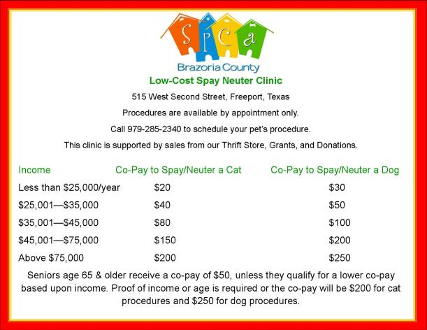 Low Cost Spay Neuter Co-Pays