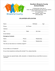 Volunteer Application Front Page